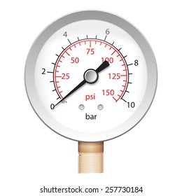Vector illustration of pressure meter - manometer barometer. iso