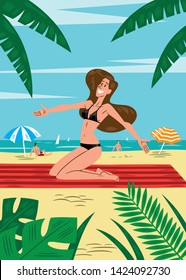 Vector illustration of a pretty girl in bikini, on a towel, very happy with open arms, on a beach with tropical vegetation, the sea in the background and people sunbathing and some sunshades. Cartoon.