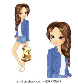 Vector illustration of pretty girl in a denim jacket holding backpack