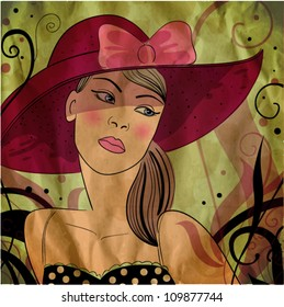 vector illustration of a pretty girl with hat.  vintage style. eps10