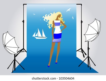 vector illustration of a pretty girl model  in the studio for photo shoot in marine style