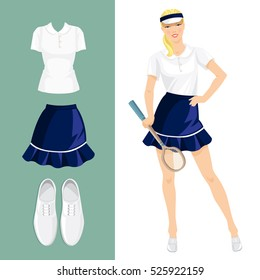 Vector illustration of pretty girl tennis player. Sports clothes and shoes isolated on color background.