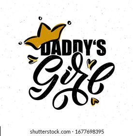 Vector illustration of Pretty Girl text for girls clothes. Daddy's Girl badge, tag, icon. T-shirt design, card, banner template. Mommy's Girl calligraphy background. Little Girl lettering typography