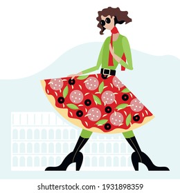 Vector illustration - a pretty young female supermodel in black glasses, boots and a bright skirt that looks like a pizza on a light background with the outlines of the Roman colosseum. Concept-Italy