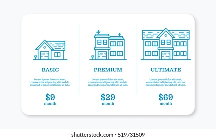 Vector illustration of pricing subscription plan table template for web box app and application in line style with houses. UI UX blue interface design elements Price list 3 options for online service.