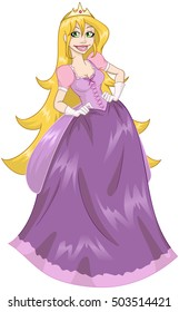Vector illustration of princess blondie with her long hair in pink dress.