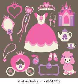 Vector illustration of princess design elements.