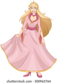 Vector illustration of a princess in pink yellow dress and crown.