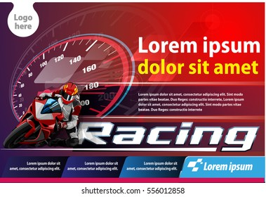 Vector illustration, print ads motorcycle racing event