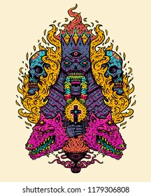 Vector illustration print. Demon king with burning cross, on the background of the flames skulls and evil dogs. Psychedelic art Design for T-shirt
