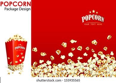 vector illustration of print layout for popcorn bucket