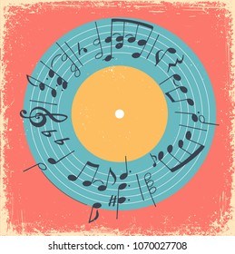 Vector illustration with printed music circle and vinyl record. Musical vintage concept creative invitation