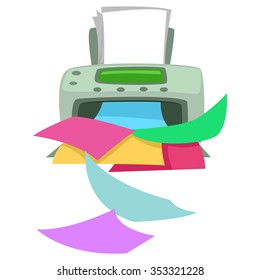 Vector Illustration of Printer Printing Colorful Papers