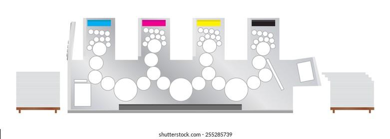 Vector illustration of Printing machine - offset printing press.