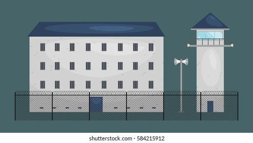 vector illustration of  prison jail building. Justice and Prison system concept