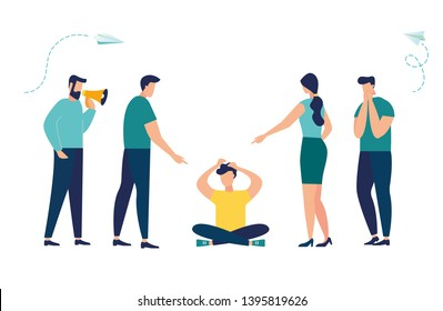 Vector illustration, the problem of bullying, a man sits on the floor surrounded by people mocking him.
