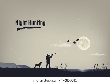 Vector illustration of the process of hunting for ducks in the night. Silhouettes of a hunting dog with the hunter against the background of the night sky with stars and the moon.