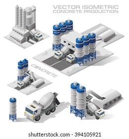 vector illustration of the production of concrete loading concrete mixers concrete transportation, construction isometric graphics plane
