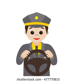Vector illustration. Profession. Cartoon driver isolated on white background