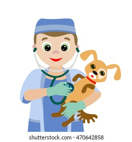 Vector illustration. Profession. Cartoon vet with a sick dog   isolated on white background