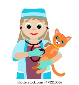 Vector illustration. Profession. Cartoon vet with a sick kitten isolated on white background