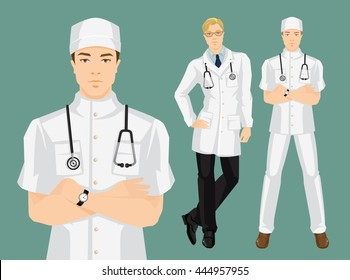 Vector illustration of profession people in medical gown and hat. A young doctor in uniform isolated on color background.