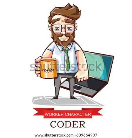 Vector Illustration Profession Programmer Cartoon Image Stock