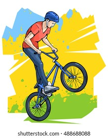 Vector illustration of a professional bmx rider. Beautiful extreme sport poster. Bmx freestyle competition contestant. Bicycle rider, cyclist, youth culture. Abstract background