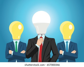 Vector illustration of professional business team with bright light bulb heads.