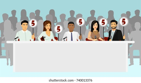 Vector illustration of professional competition judges jury holding tablets with estimates with silhouettes of people as viewers in flat style.