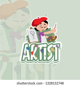 Vector illustration of a professional man artist