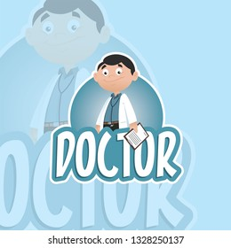 Vector illustration of a professional man doctor