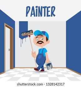 Vector illustration of a professional man painter