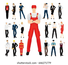 vector illustration of professional people in uniform on white background