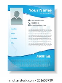 Vector illustration of professional resume template design, attractive CV in blue color