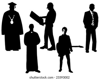 vector illustration of professional silhouettes