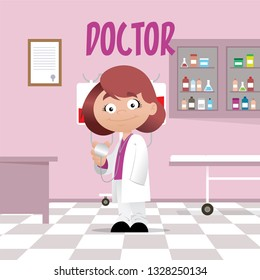Vector illustration of a professional woman doctor