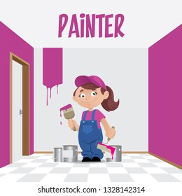 Vector illustration of a professional woman painter