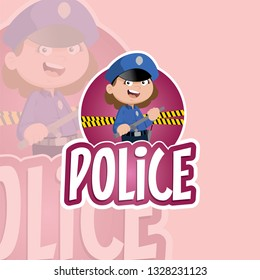 Vector illustration of a professional woman police