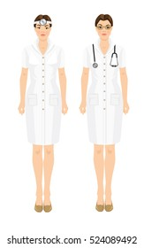 Vector illustration of professional women in medical uniform isolated on white background.