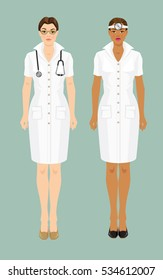 Vector illustration of professional women in medical uniform isolated on color background.