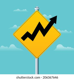 Vector illustration of a profit warning sign with an arrow graphic.