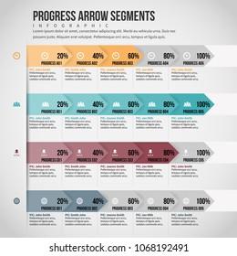Vector illustration of Progress Arrow Segments infographic design element.