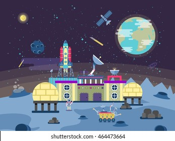 Vector illustration of a project to develop the planet surface, a permanent habitable base, Colonization of the moon and near-Earth space in the flat style