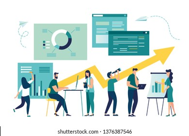Vector illustration, project management, business communication, document management and consulting. Modern vector illustration concept for website and mobile website development.