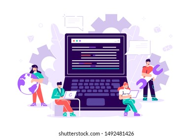 Vector illustration project team of engineers for website, PHP, HTML, C++, CSS, Js.Engineering, Programmer development, Software programming Concept for web page, banner, presentation, social media.