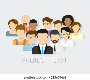 Vector illustration of project team. Flat employee avatars of the project team working together as colleagues. Graphic design of employee group