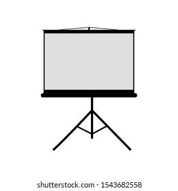 Vector illustration of projector screen. Screen for presentation. School whiteboard