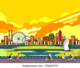 vector illustration promenade ride a bike people on the water sailing a sailboat in the distance a great city