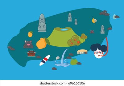 Vector illustration to promote Jeju Island: Jeju-do cartoon styled map with Jeju attractions and symbols: Hallasan, Dol Hareubang or Harubang, known as Stone grandfather, Haenyeo or Jeju female diver.
